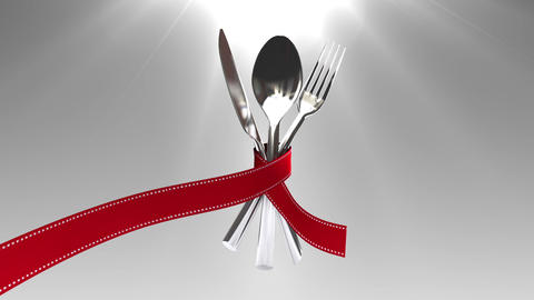 Tie a ribbon on cutlery set animation(included alpha) Footage