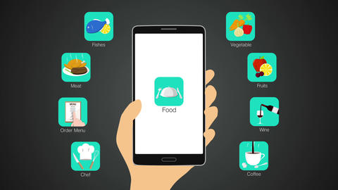 Food application function for smart phone,mobile, chef,order menu, meat, fishes, 실사 촬영