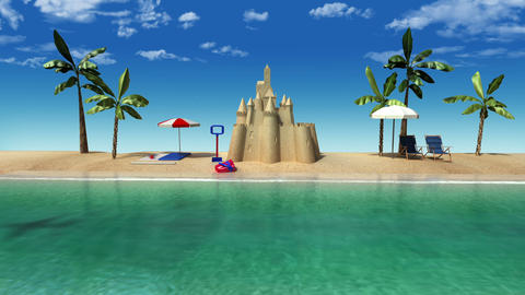 Enjoy holiday vacation in tropical beach concept, Stock Animation