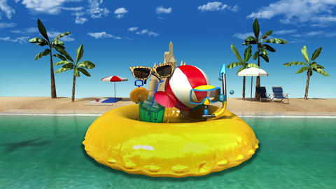 Enjoy holiday vacation in tropical beach concept Animation