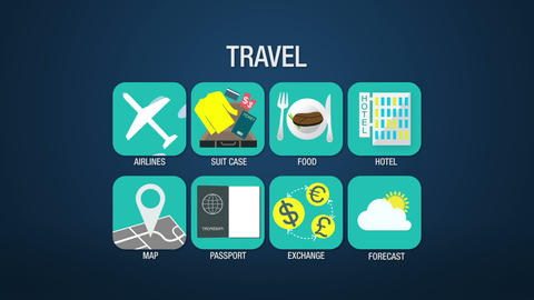 Travel icon set animation,airline,suitcase, food, hotel, map, passport, exchange Animation