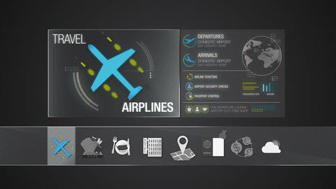 Airline icon for travel contents. Digital display application Animation