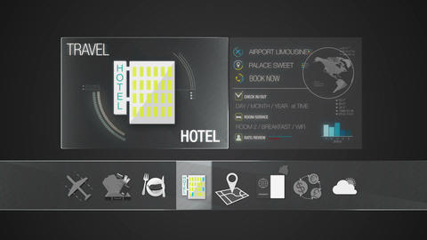 Hotel icon for travel contents.Digital display application Animation