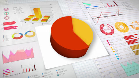 60 percent Pie chart with various economic finances graph.(no text) Animation