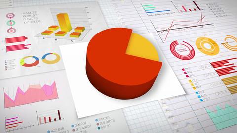 80 percent Pie chart with various economic finances graph.(no text) Animation