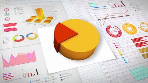 20 percent Pie chart with various economic finances graph.(no text) Animation