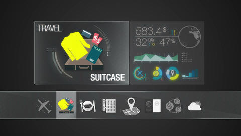 Suitcase, travel bag icon for travel contents.Digital display application Animation