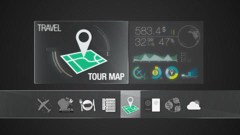 Tour map icon for travel contents.Digital display application Animation