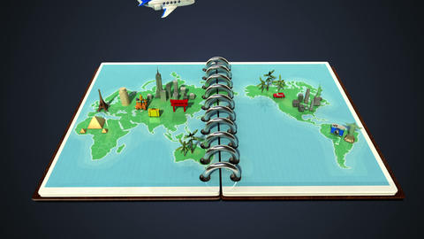 Opened passport, travel world tour concept Animation