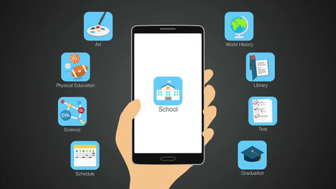 School application function for smart phone,mobile, Education contents 실사 촬영