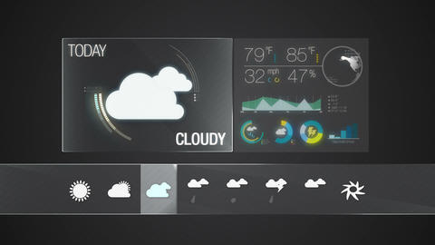 Cloudy icon, Weather forecast icon set animation Live Action