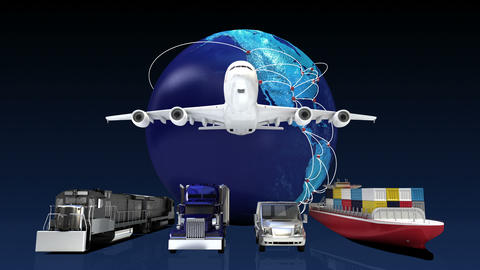 Growing Global Network with airplane, train,ship, car transportation,earth 2 Footage