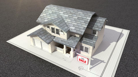 Architectural drawing changed three-dimensional house. and sale sign Footage