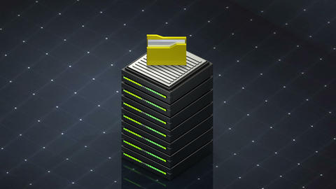 Database symbol and computer folder. Database server web hosting icon 3D Footage