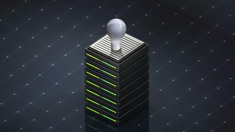Database symbol and bulb light. Database server web hosting icon 3D Footage