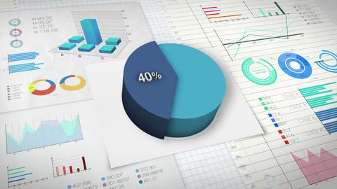 40 percent Pie chart with various economic finances graph Animation