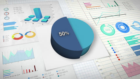 50 percent Pie chart with various economic finances graph Animation