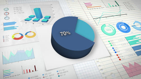 70 percent Pie chart with various economic finances graph Animation
