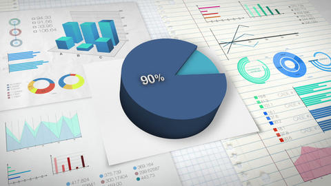 90 percent Pie chart with various economic finances graph Animation