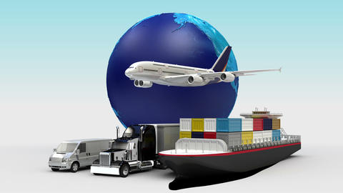 Growing Global Network with airplane, train,ship, car transportation,earth 1 Live Action