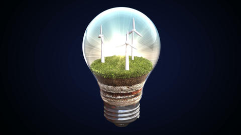 Wind energy makes an electric bulb Footage