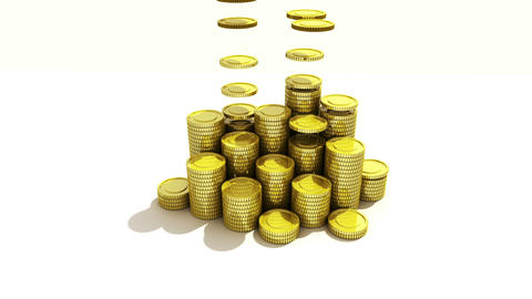 Pile up Golden coins and bar, expressed growth profits 1 Footage