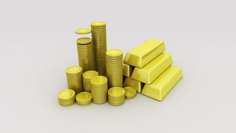 Pile up Golden coins and bar, expressed growth profits 2 Footage