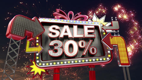 Sale sign 'SALE 30 percents' in led light billboard promotion Animation