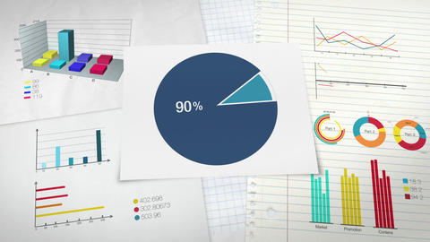 Pie chart indicated 90 percent, Circle diagram for presentation version 2 Animation