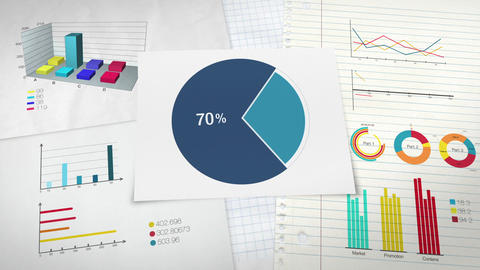 Pie chart indicated 70 percent, Circle diagram for presentation version 2 Animation