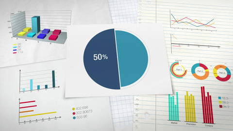 Pie chart indicated 50 percent, Circle diagram for presentation version 2 Animation