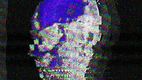 Human Skull Glitch Saturated Noise Background On Black Animation