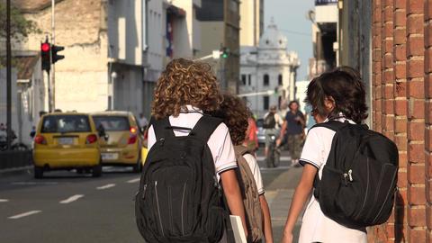 Urban Students Walking On Sidewalk Footage