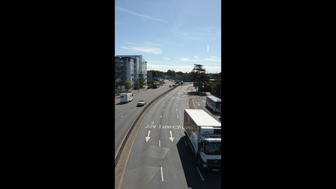 Vertical footage of Horse Road, Portsmouth captured from the foot bridge Live Action