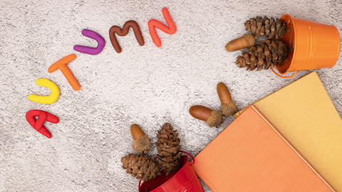 Autumn composition and title moving on the table in stop motion Animation
