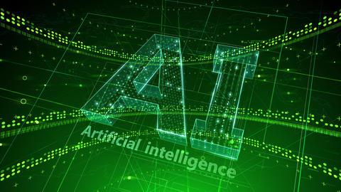 AI, artificial intelligence digital network technologies 19 1 Logo 2 N2 green 4k Animation