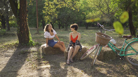 Two positive women talking while sitting on hay stacks in the summer garden Footage