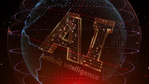 AI, artificial intelligence digital network technologies 19 1 Logo 5 N2 red 4k Animation
