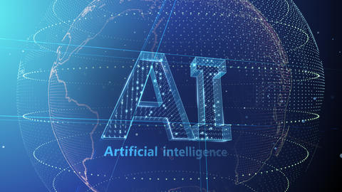 AI, artificial intelligence digital network technologies 19 1 Logo 5 F2 blue 4k 애니메이션