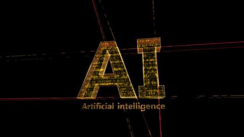 AI, artificial intelligence digital network technologies 19 1 Logo 1 F1 kuro 4k CG動画