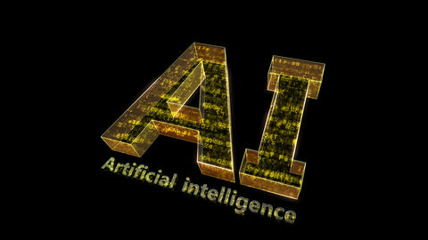 AI, artificial intelligence digital network technologies 19 1 Logo 0 N1 red 4k Animation