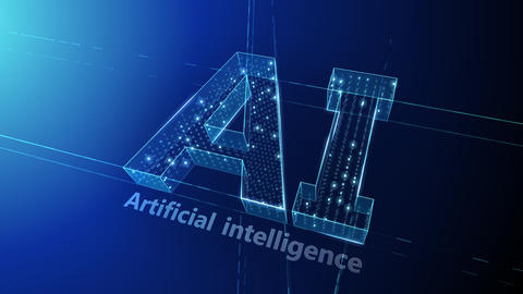 AI, artificial intelligence digital network technologies 19 1 Logo 1 N1 blue 4k CG動画