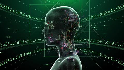 AI, artificial intelligence digital network technologies 19 1 Human 2C green 4k Animation