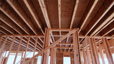 The frame of a wooden house on a unfinished object in close up a new under Footage