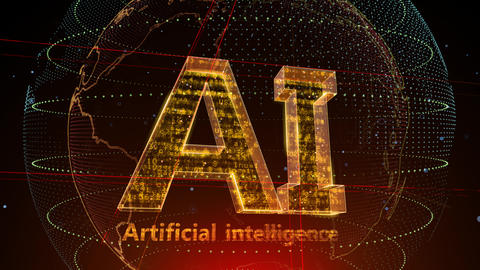 AI, artificial intelligence digital network technologies 19 1 Logo 5 F2 red 4k Animation