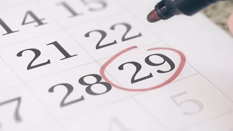 Reminder mark on the twenty-nineth 29 day of a month Live Action