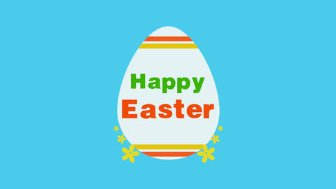 Animated closeup Happy Easter text and egg on blue background Animation