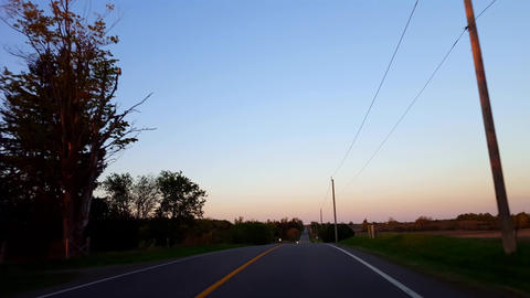 *Free Version* Driving Rural Countryside Road During Sunset. Driver Point of View POV While Sun Live Action