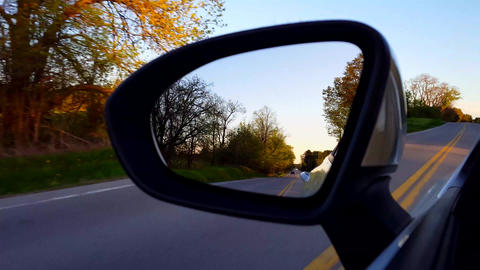 *Free Version* Driving Rural Road View of Side Mirror at Sunset. Driver Point of View POV Looking Live Action