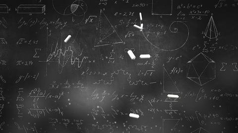 Closeup mathematical formula and elements on blackboard, school background of Animation